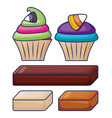 delicious sweet cupcake pastry with bars candies vector image