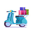 delivery scooter with gifts and parcels icon vector image