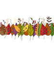 doodle border with colorful autumn leaves vector image