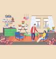 family at home cartoon flat vector image vector image