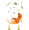 Feeding Red Happy Dog Throwing Up on Arms vector image vector image