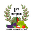 festive emblem with vegetables on world vegetarian vector image