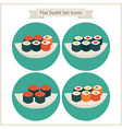 Flat Food Sushi Set Circle Icons vector image
