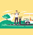 flat young man with golf club car on green field vector image