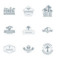 forest stand logo set simple style vector image