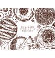 fruit and berry deserts menu design ink hand vector image