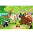 Funny animals stay together in the wood vector image vector image