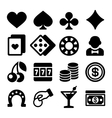 Gambling Casino Icons Set on White Background vector image vector image