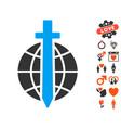 global guard icon with valentine bonus vector image