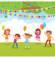 group of children playing with balloons and vector image
