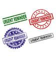 grunge textured urgent reminder stamp seals vector image