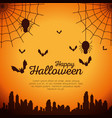 halloween card with spider web and bats flying vector image vector image