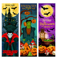 halloween monster party invitation banner design vector image vector image