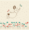 hand-drawn flying bunny vector image vector image
