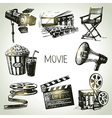 Hand drawn vintage Movie and film set vector image