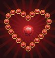heart shape made from red diamonds vector image