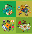 hiking concept icons set vector image vector image
