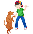 Little boy playing with pet dog vector image