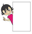 Little girl with a blank sign vector image vector image