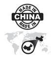 made in china stamp world map with zoom on vector image vector image