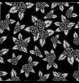 monochrome seamless pattern hand drawn gray roses vector image