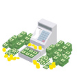 Open Cash Register Machine with a lot of money vector image