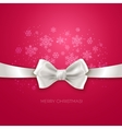 Pink Christmas background ribbon with white silk vector image vector image