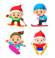 professional children playing the ice skating vector image vector image