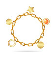 realistic detailed 3d gold chain bracelet with vector image
