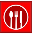 red restaurant sign with utensil vector image vector image