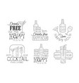 set black and white logos for cafe or vector image