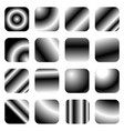 set of 16 grayscale gradient templates - rounded vector image