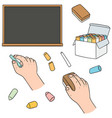 set of blackboard and chalk vector image