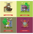 set of cool robots flat style design vector image