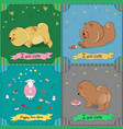 set of vintage greeting cards with cartoon animals vector image vector image