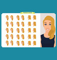 set of womans emotions design facial expression vector image vector image