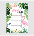 summer greeting card invitation wish list to do vector image vector image