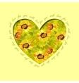 Sunflower heart design Floral love card vector image vector image
