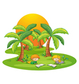 Two kids in the island reading near the coconut vector image vector image