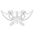 viking helmet and axes hand drawn sketch vector image vector image