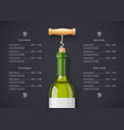 white wine bottle cork vector image
