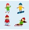 Winter games kids vector image