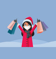 woman wearing face mask shopping for christmas vector image