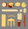 wooden accessories cartoon vector image vector image