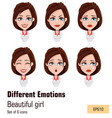 young attractive girl with different emotions vector image vector image