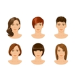 young female face with different hairstyles vector image vector image