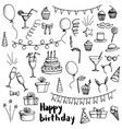 birthday party doodle set vector image
