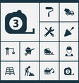 industry icons set collection of lifting hook vector image