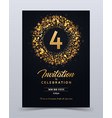 4 years anniversary invitation card template vector image vector image