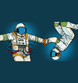 a couple in love astronauts holding hands vector image